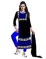 Ninecolours Georgette Embroidery Salwar Suit in Black Colour