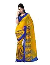 ANSS Elegant Faux Georgette Saree with Floral Print - Blue&Yellow