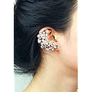 Earrings - Crescent Shaped Rhinestone Right Ear Cuff