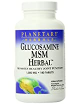 Planetary Herbals Glucosamine MSM Herbal, 1000 mg, Tablets, 180 tablets