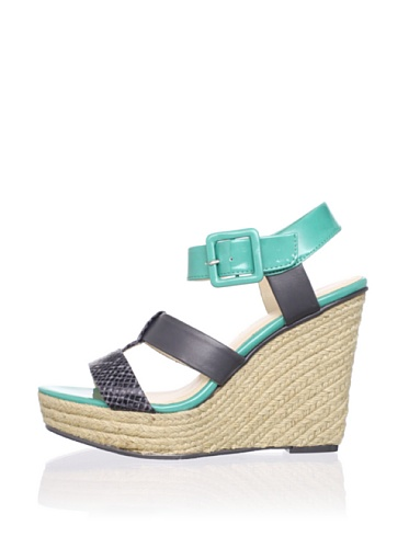 Calvin Klein Women's Ellison Wedge Sandal (Grey/Tropical Green)