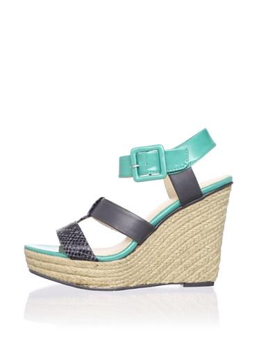 Calvin Klein Women's Ellison Wedge Sandal (Grey/Tropical Green)