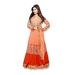 Fabfiza Rimi Sen Semi Stitched Anarkali Suit - Orange
