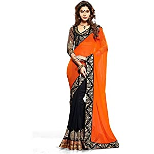 Bollywood Style Designer Orange & Black Colored Half and Half Saree