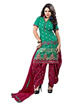 Suchi Fashion Green & Maroon Cotton Embroidered Patiyala Suit Dress Material