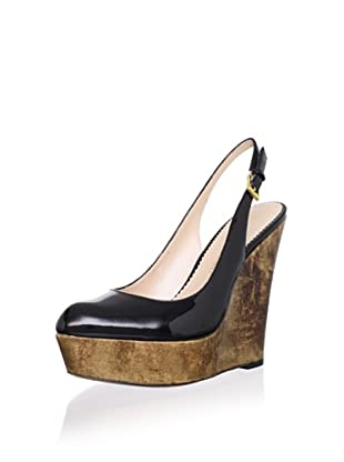 Jean-Michel Cazabat Women's Talisa Slingback Wedge (Black Patent/Gold)
