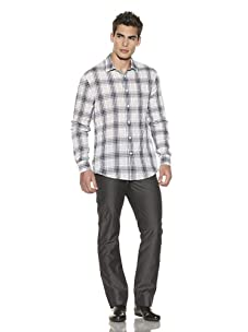 John Varvatos Collection Men's Plaid Crinkle Sport Shirt (Thistle)