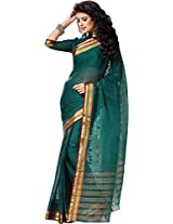 Parchayee Women's Cotton Saree (94379A, Green, Free Size)