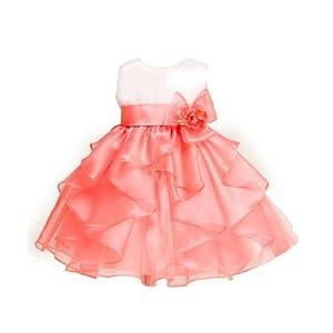 KID Collection Baby-Girls Layered Ruffle Skirt Dress 12M MedWht/Crl(KID B808)