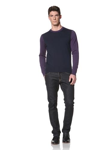 Cullen Men's Color Block Crew Sweater (Navy/Heather)