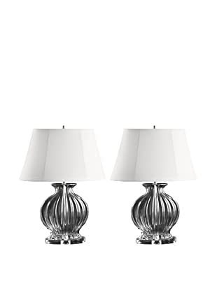 Aurora Lighting Set of 2 Fluted Oval Glass Table Lamps