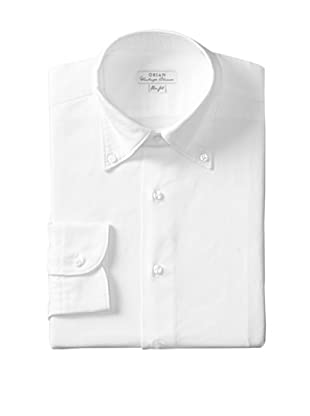 Orian Men's Slim Fit Washed Button Down Solid Oxford Dress Shirt (White)