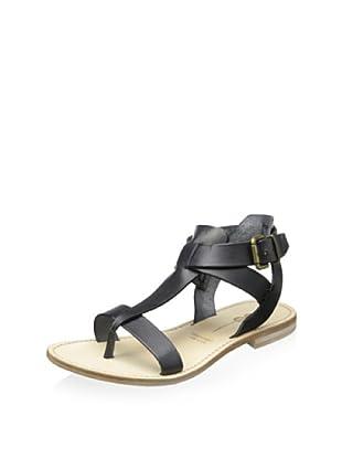 YIN Women's Allie Flat T-Strap Sandal (Black Vaqueta)