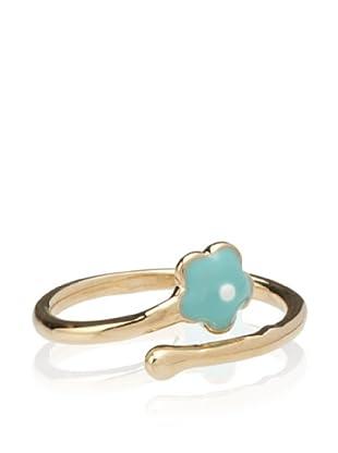 Frida Girl Enamel Flower Ring (Gold/Turquoise/White)