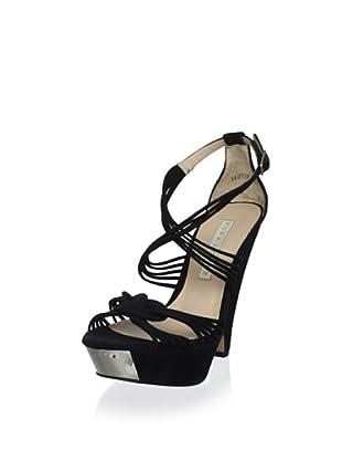 Pura López Women's Strappy Modified Wedge Sandal (Ante 32 Negro)