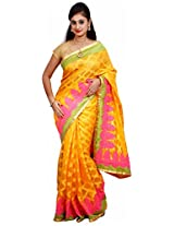 Diva Women's Net Saree (Yellow )