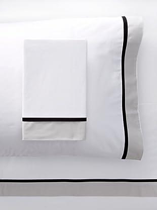 Mason Street Textiles Hotel Cuff Sheet Set (White/Steel)