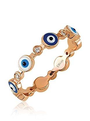 Divas Diamond Anillo Gemstone Good Luck Eye (Dorado / Azul)