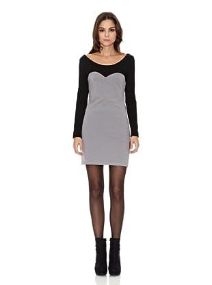 Rare London Vestido Panel (Gris / Negro)