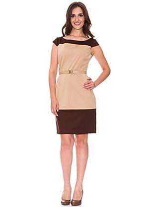 Cortefiel Vestido Color Block (Tostado)