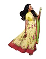 Anvi Creations Yellow Georgette Printed Embroidered Anarkali Dress Material (Yellow_Free Size)