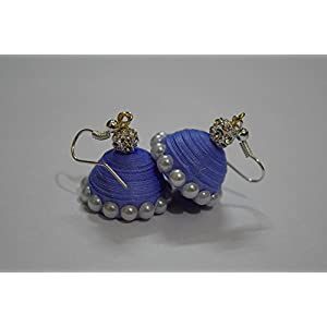 Quillings by SSE - Blue With Peral Hangings Earring