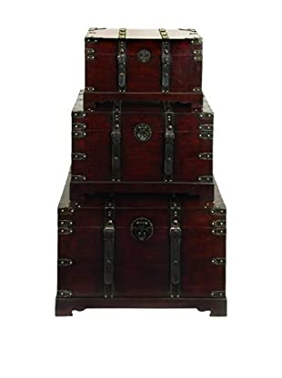 Set of 3 Wood & Leather Antique Style Trunks