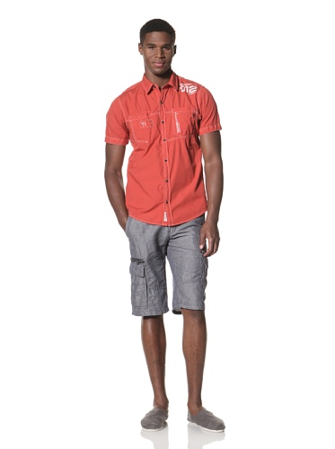 Projek Raw Men's Short Sleeve Woven Shirt (Coral)