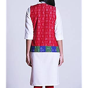 Red, Ikat jacket, with tiled border.