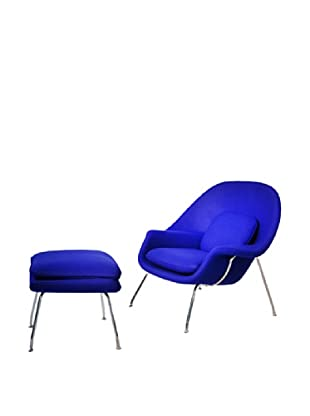 Manhattan Living Womb Chair & Ottoman Set, Blue