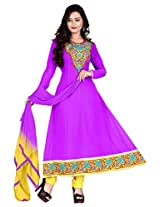 Vardhamn Women's SAKH1 lavender Georgette Unstitched salwar suit dress material