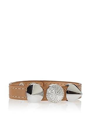 nOir Brown/Silver Single Band Tri-Pave Cone Bracelet