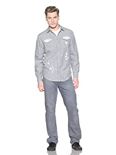 Under Two Flags Men's Harlow Hickory Hand-Stained Vintage Western Shirt (Indigo)