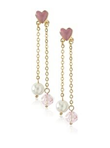 Frida Girl Pink & White Long Pearl & Crystal Earrings