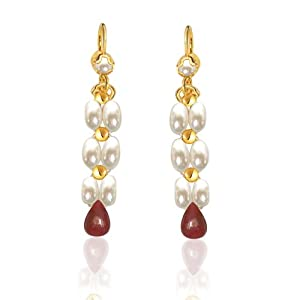 Stylish Dangling White, Gold & Red Colored Rice Pearls Drop Ruby Earrings For Women by Surat Diamond