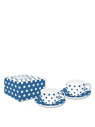 Easy Life Design Set 2 Tazzine Espresso con Piattini in Porcellana Happy Pois (Blu)
