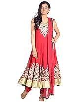 Myra Women's Net Semi-Stitched Salwar Suit (MY-007, 40 Inches, Maroon)