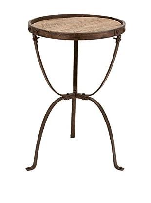 UMA Metal & Wood Side Table, Brown