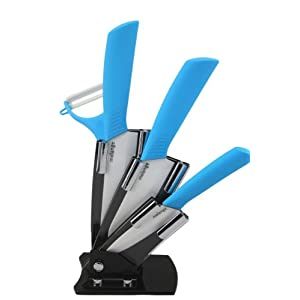 Melange 5-Piece Ceramic Knife Set with Sky Blue Handle and White Blade, Includes 6-Inch Chef's Knife, 5-Inch Santoku Knife, 4-Inch Utility Knife, Peeler and Acrylic Holder