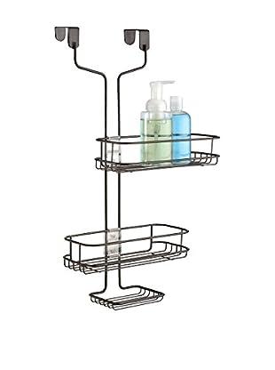InterDesign Linea Adjustable Over Door Shower Caddy, Bronze