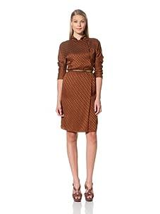 MARTIN GRANT Women's Long Sleeve Dress with Buttons (Cognac)