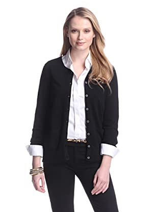 Cashmere Addiction Women's Pocket Cashmere Cardigan (Black)