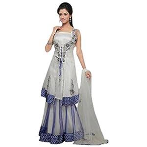 Utsav Fashion Off White and Blue net lehanga choli