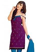Lavis Dark Pink & blue Pure Cotton Dress Material