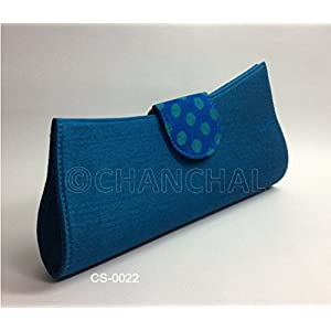 Chanchal Silk & Chanderi Clutch - Turquoise Blue With a Tinge Of Green