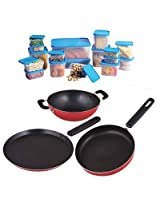 Nelcon Cookware Set of 3 pcs + 10 pcs Container Set