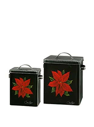 Winward Set of 2 Poinsettia Canisters