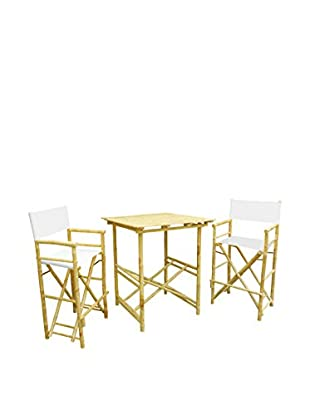 ZEW, Inc. High Table & Director Chair Set, White