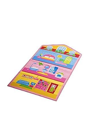 ABC Tappeti Teppich Dollhouse 1 rosa/himmelblau/mehrfarbig 80 x 140 cm