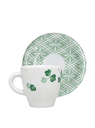 Molecuisine Kaffeetasse mit Untertasse 4er Set Magatama grün
